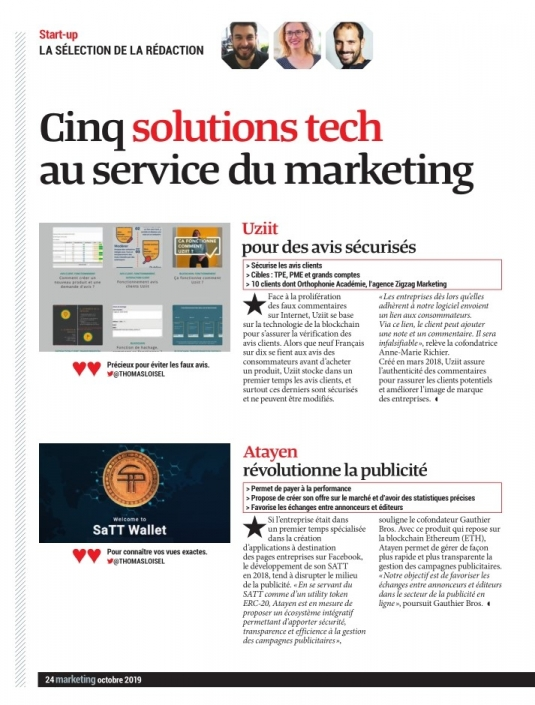 Article magazine Marketing octobre 2019